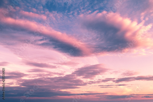 Photo Stands Candy pink Pink cloudy sky at sunset. Natural background
