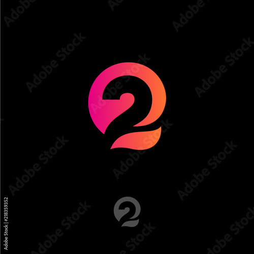 Number 2 and Q letters monogram. Gradient abstract logo isolated on a dark background. Monochrome option.