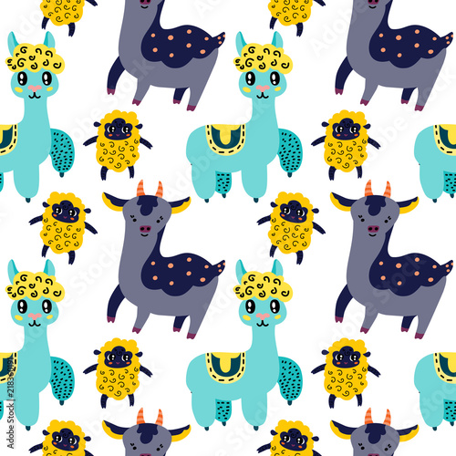 Cute animals seamless pattern Canvas