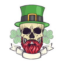 Color Handdrawn Skull Of Lepre...
