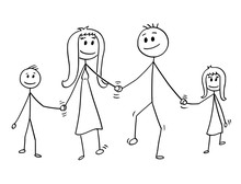 Cartoon Stick Drawing Conceptual Illustration Of Family. Parents, Man And Woman And Two Children, Boy And Girl Are Walking While Holding Hands.