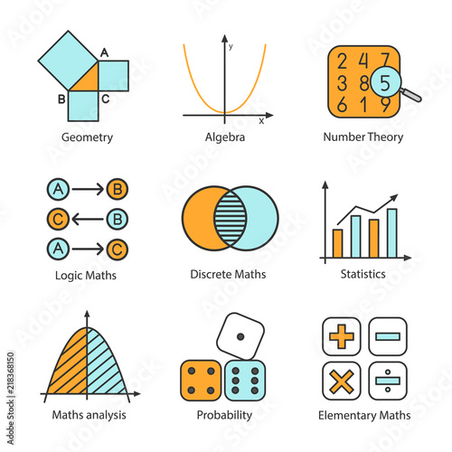 Mathematics color icons set Canvas-taulu