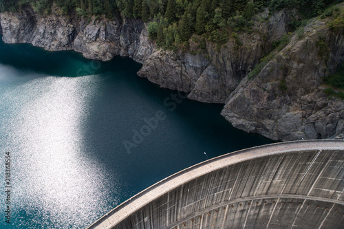 Tuinposter Dam Dam wall view from above, aerial photo.