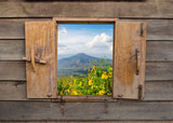 Fototapeta Room - View of old vintage wooden windows, wooden frame of rural landscape