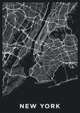 Dark New York City map. Road map of New York (United States). Black and white (dark) illustration of new york streets. Transport network of the Big Apple. Printable poster format (portrait). - 218373711