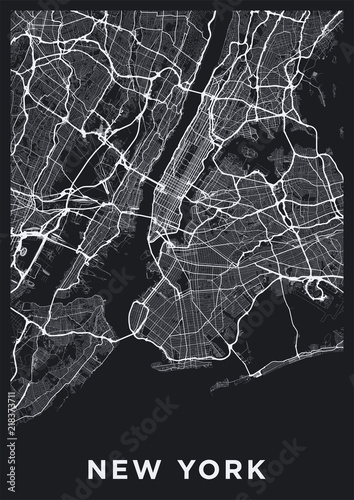 Dark New York City map. Road map of New York (United States ...