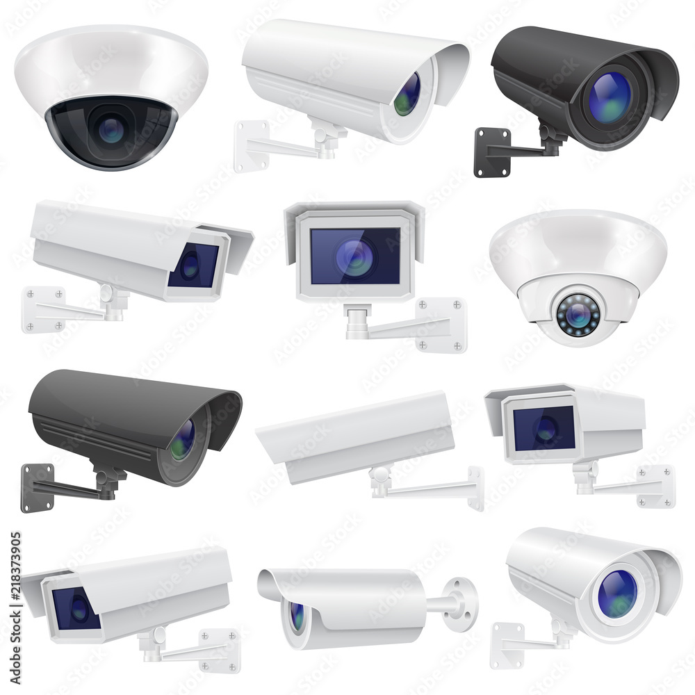 Fototapeta CCTV camera. Large collection of white and black security surveillance system. Wall and ceiling mounted