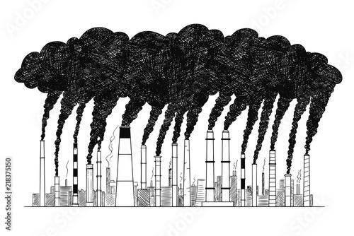 Photo Vector artistic pen and ink drawing illustration of smoke coming from industry or factory smokestacks or chimneys into air