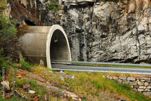 Road entering the tunnel, Norway
