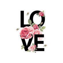 Love. Print For T-shirt With R...