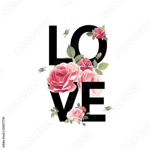 Foto Love. Print for t-shirt with roses. Vector illustration