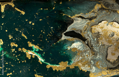 Green and blue marble abstract acrylic background Canvas Print