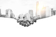 canvas print picture - Double exposure help hands shaking together and urban city