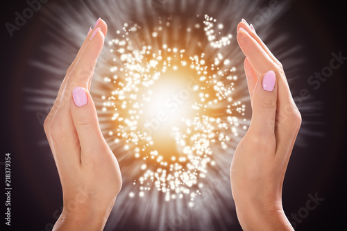 Photo  Woman's Hand Protecting Light