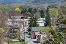 Aerial View Of Rosendale, New York. Taken From The Rail Trail Bridge Showing Main Street, Houses And Buildings. Small Town, USA