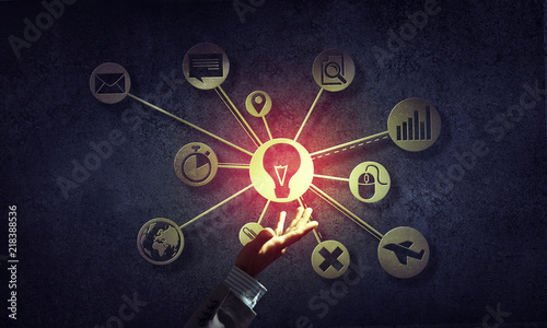 Fototapety, obrazy: Close of businessman hand showing at user interface glowing on wall