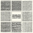 Vector set of hand drawn seamless pattern made with ink. Freehand textures for fabric, polygraphy, web design.
