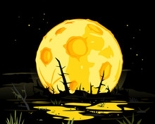 Full Moon In Night Swamp Mystical Background