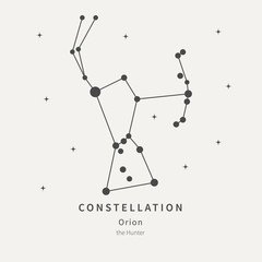 The Constellation Of Orion. The Hunter - linear icon. Vector illustration of the concept of astronomy.