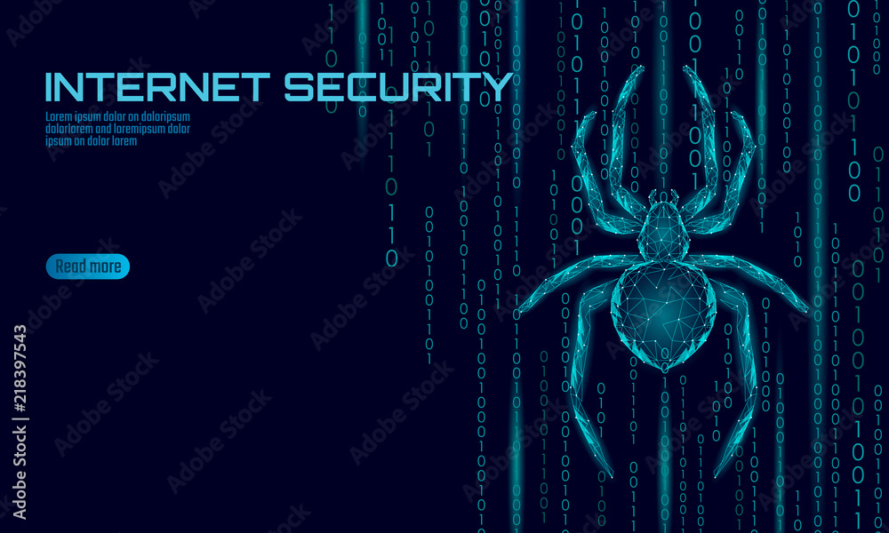 Fototapeta Low poly spider hacker attack danger. Web security virus data safety antivirus concept. Polygonal modern design business concept. Cyber crime web insect bug technology vector illustration