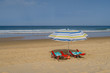 Vacation scene of at the sea on the beach of La Barrosa in Sancti Petri, Spain