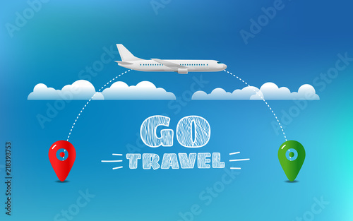 World travelling concept. Travel banner with aircraft and destination pin