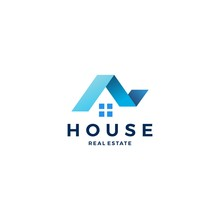 House Home Roof Mortgage Real Estate Ribbon Logo Style Vector Icon