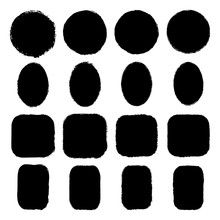 Vector Set Of Ink-stained Oval, Round, Rectangular, Square Grunge Stickers With Uneven Rough Edges