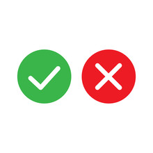 Vector Image Set Tick And Cross Sign.Yes And No Button.Checkmark Icons.
