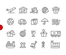 Industry And Logistics Icons // Red Point Series - Vector Line Icons For Your Digital Or Print Projects.