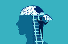 Business Man Climbing Up The Stairs Reaching Human Head To Add Piece Of Brain Puzzle.