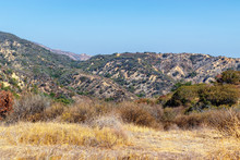 Summer Sun Dries Grass And Bushes In Mountains Of Southern California Near Recent Forest Fire On Hot Summer Day