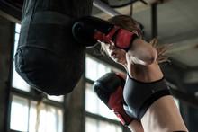 Female Boxer Preparing For Tra...