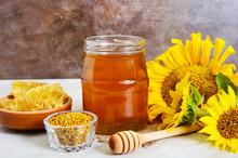 Honey In A Glass Jar, Honeycom...
