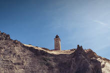Famous Lighthouse On The Top Of The Sand Dune Cliffs In Northern Denmark. Rubjerg Knude Lighthouse, Lønstrup In North Jutland In Denmark, Skagerrak, North Sea