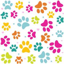 Seamless Animal Pattern Of Paw...