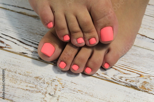 fashionable red pedicure