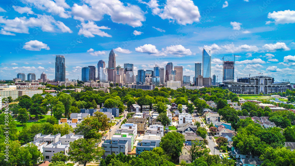 Fototapety, obrazy: Downtown Charlotte, North Carolina, USA Skyline Aerial