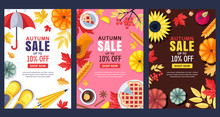 Fall Illustration. Vector Sale Banner Or Poster. Frames, Backgrounds With Autumn Harvest, Accessories And Leaves.