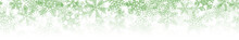 Christmas Horizontal Seamless Banner Or Background Of Many Layers Of Snowflakes Of Different Shapes, Sizes And Transparency. Gradient From Green To White