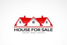 Real Estate Red Houses Logo. Vector Illustration