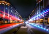 Fototapeta Londyn - Regent Street at night with beautiful night trail.