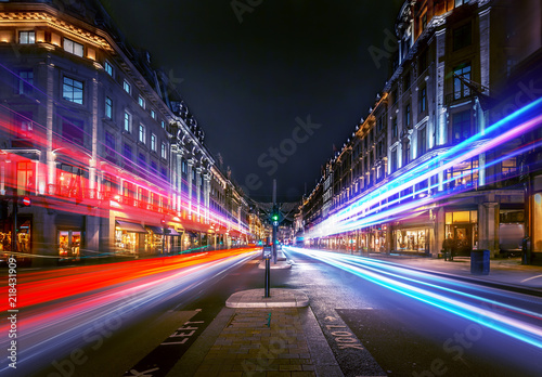 Regent Street at night with beautiful night trail.
