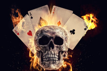 Skull And Playing Cards In Fir...