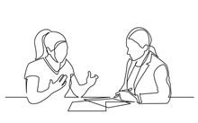 Continuous Line Drawing Of Two Women Discussing Signing Paperworks