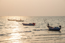 Fishing Boat Silhouettes On A ...