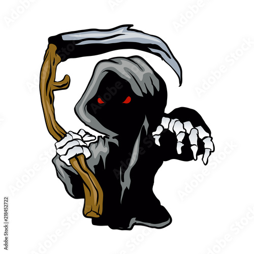 cartoon Grim Reaper with red eyes holding a scythe Wallpaper Mural