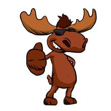 Cute Moose Cartoon Waving.happ...