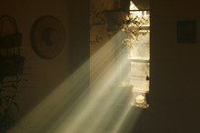 Rays Of Light Coming From A Window In An Old Country House