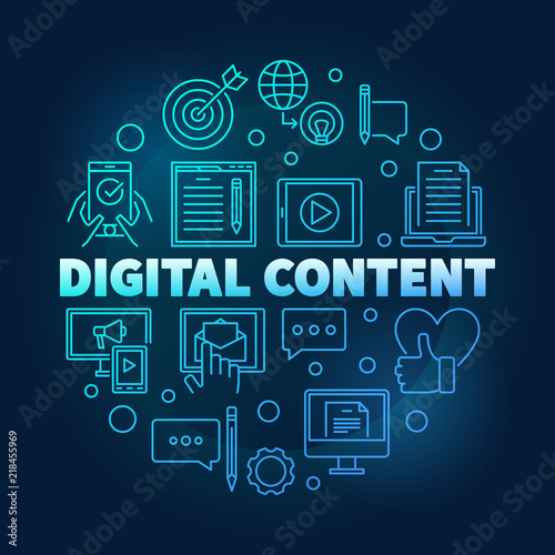 Digital Content round blue outline vector illustration Wall mural